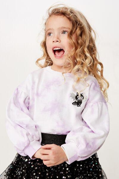 Sage Puff Sleeve Sweatshirt, BABY LILAC TIE DYE/BAT CAT BADGE