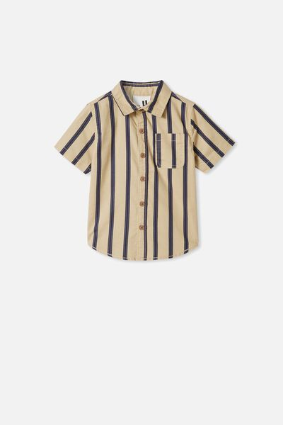 Resort Short Sleeve Shirt, SEMOLINA/NAVY VERTICAL STRIPE