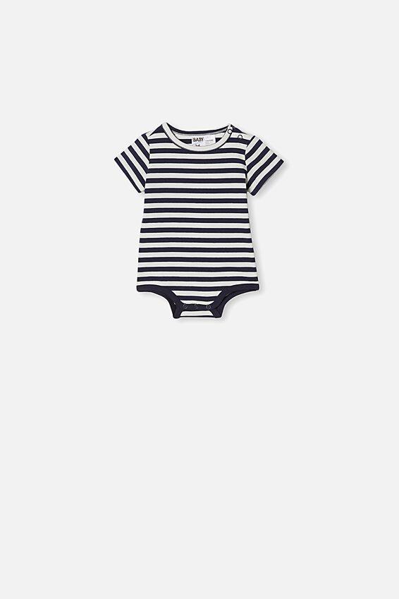 The Short Sleeve Bubbysuit, HANNAH STRIPE NAVY BLAZER/VANILLA
