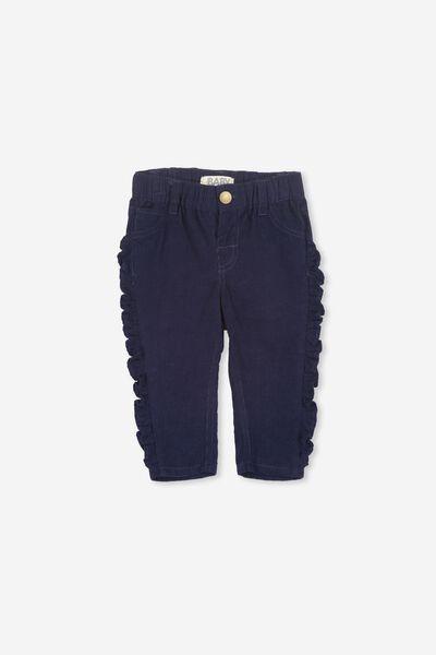 Eve Ruffle Cord Pant, PEACOAT BLUE