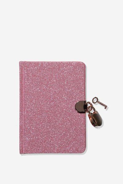 A6 Secret Notebook, PINK GLITTER