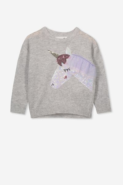 Nancy Knit Jumper, SILVER MARLE/SEQUIN UNICORN FRINGE