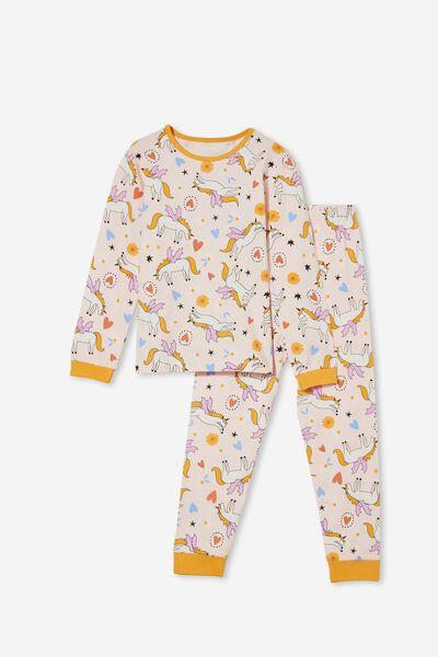 Florence Long Sleeve Pyjama Set, UNICORN MAGIC/CRYSTAL PINK