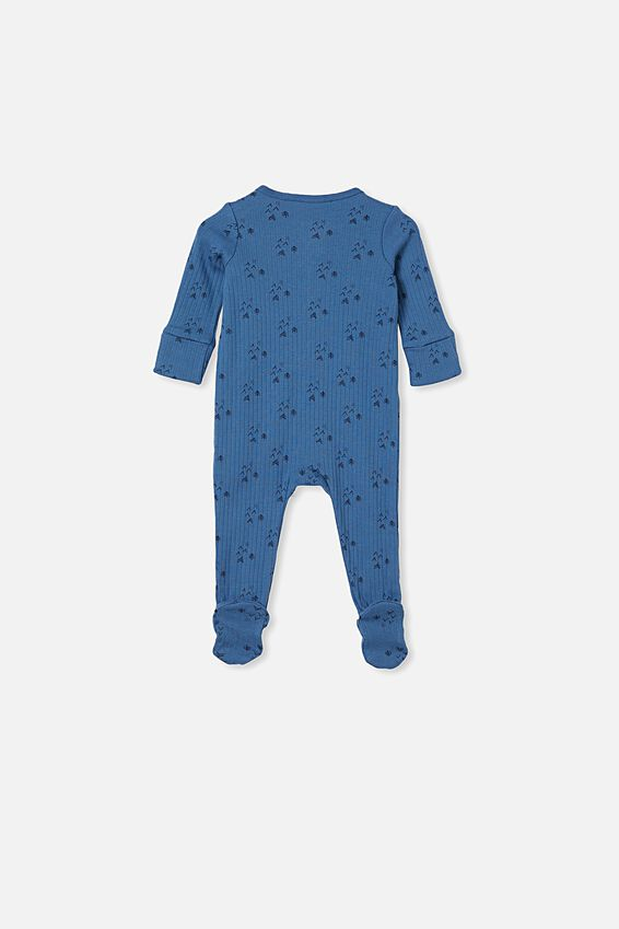 Organic Newborn Zip Through Romper, PETTY BLUE/FOREST