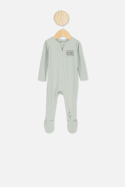 The Snug Long Sleeve Zip Romper, LCN MT STONE GREEN/JOHNNY CASH