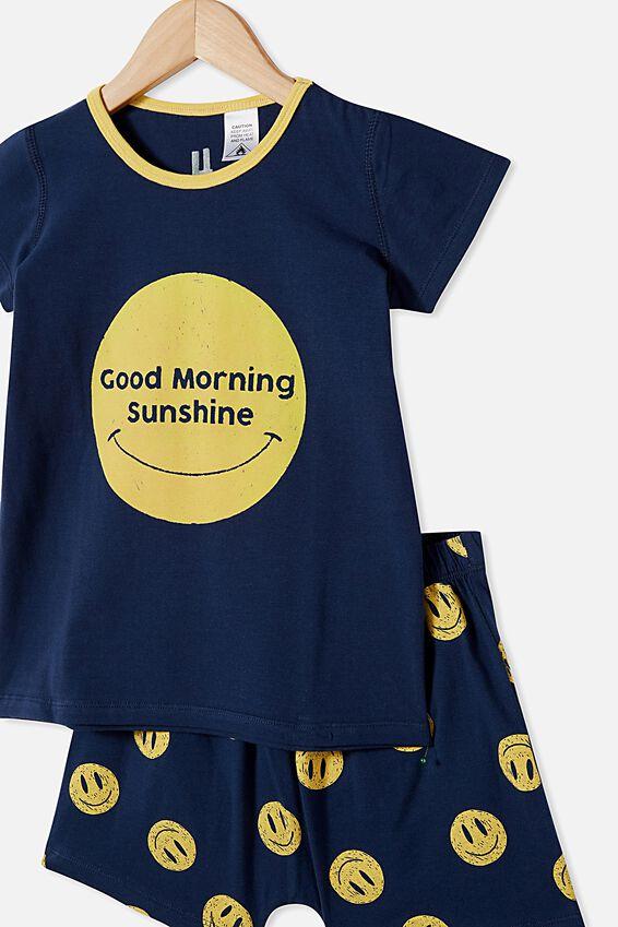 Hudson Short Sleeve Pyjama Set, GOOD MORNING SUNSHINE/NAVY BLAZER