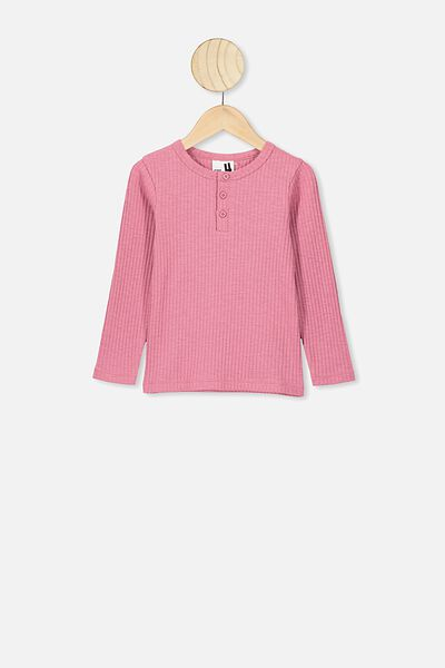 Lucia Long Sleeve Rib Henley, VERY BERRY