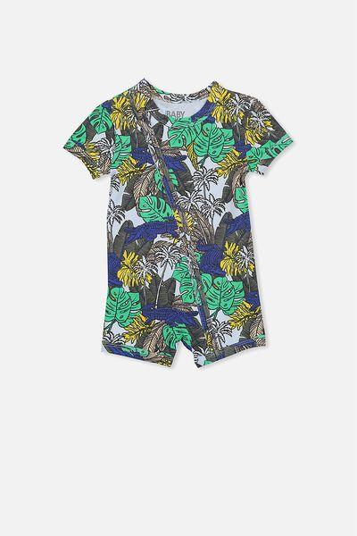 Mini Short Sleeve Zip Through All In One, ARCTIC BLUE/CROC JUNGLE