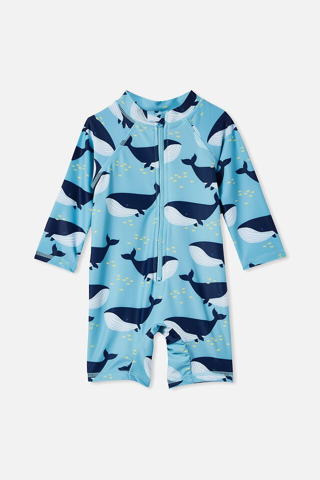 Cameron Long Sleeve Swimsuit, BLUE ICE/WHALE OF A TIME
