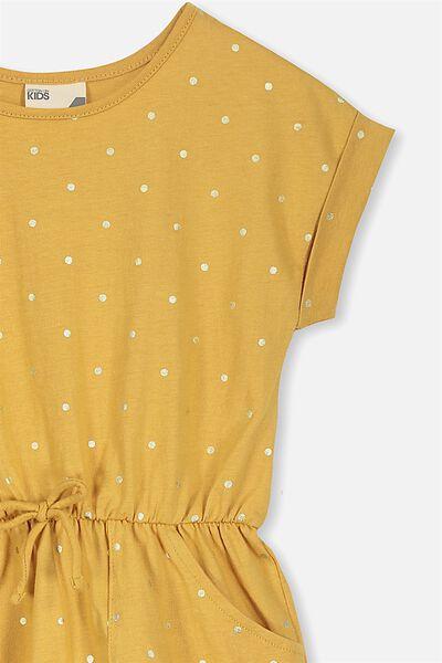 Sibella Short Sleeve Dress, MARIGOLD/GOLD DOT