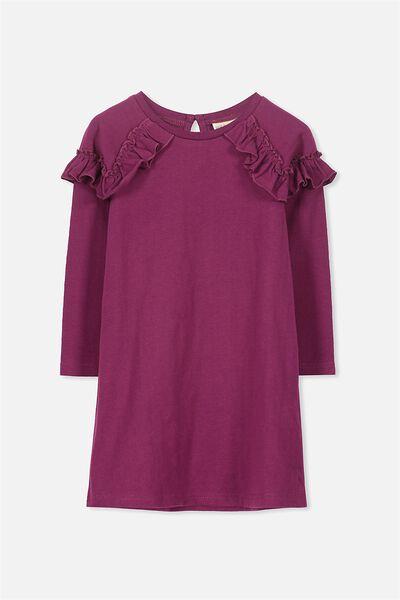 Saturday Long Sleeve Dress, MAGENTA PURPLE SLUB