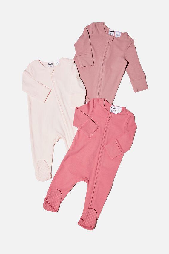 3 Pack Long Sleeve Zip Romper, MAUVE PLUM/DUSTY BERRY/CRYSTAL PINK
