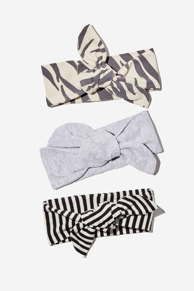 3 Pack Tie Headband, MARTY ZEBRA/CLOUD MARLE/BLACK STRIPE
