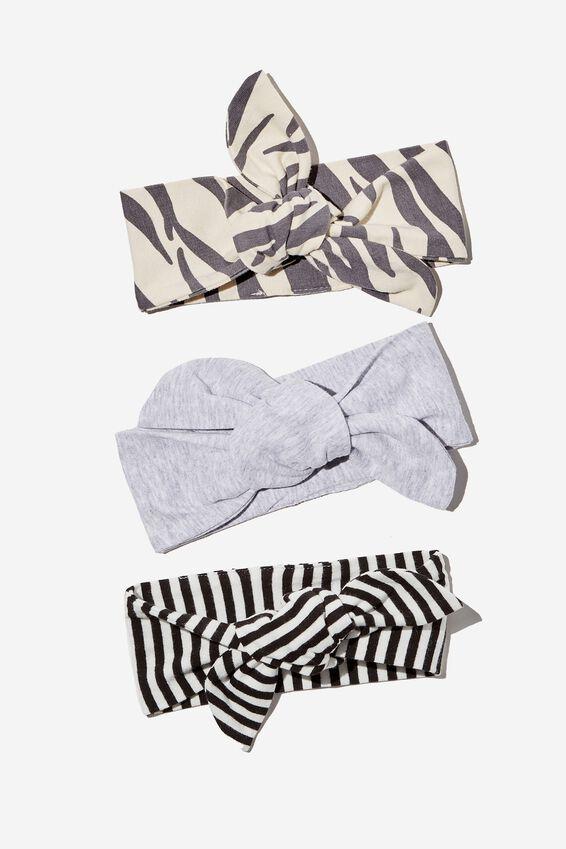 3 Pack Tie Headband, MARTY ZEBRA/CLOUD MARLE/BLACK STRIPE