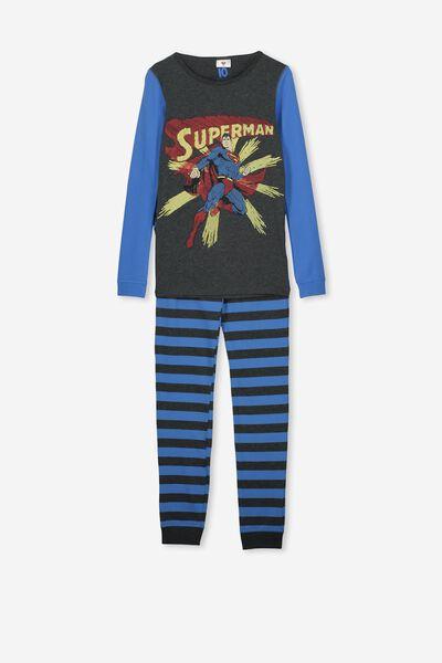 Ethan Long Sleeve Boys Pyjama Set, LCN WB SUPERMAN GREY