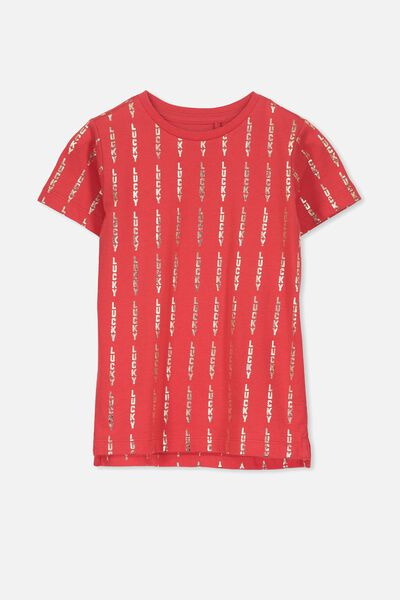 Max Short Sleeve Tee, SIS/SOPHIE RED LUCKY YDG