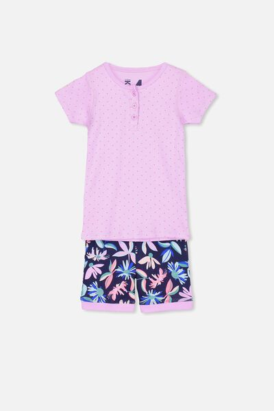 Chloe Girls Short Sleeve PJ Set, ABSTRACT FLORAL