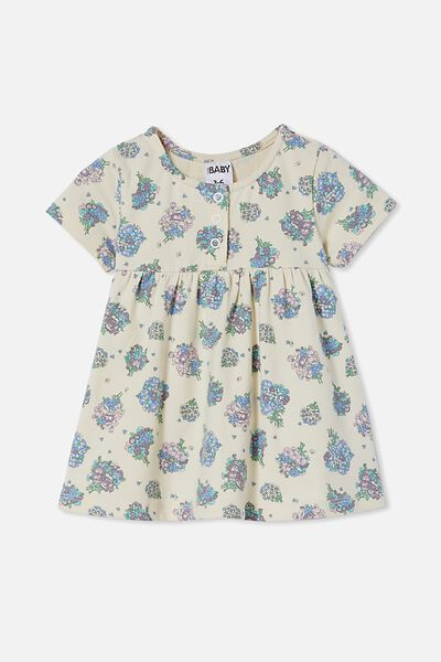 Milly Short Sleeve Dress, DARK VANILLA/DUSK PURPLE PETUNIA FLORAL