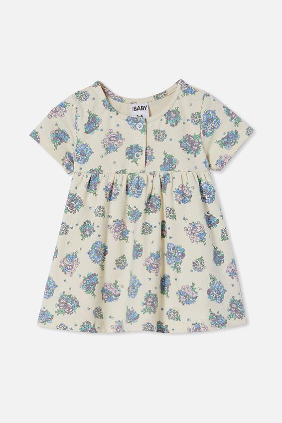 Milly Short Sleeve Dress, DARK VANILLA/DUSK PURPLE PETUNIA FLORAL