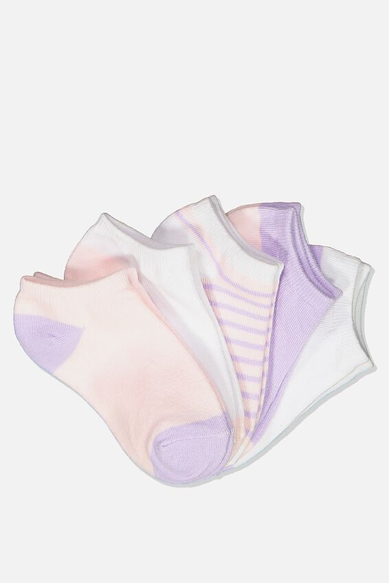 Kids 5Pk Ankle Socks, PINK WHITE LILAC