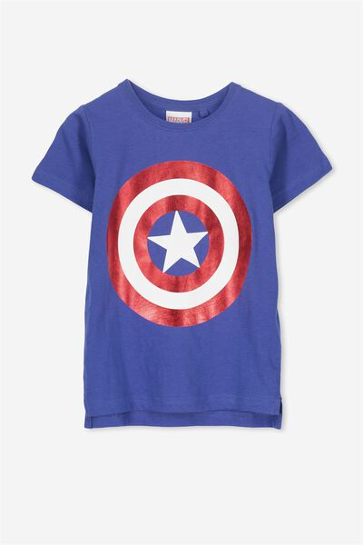 Short Sleeve License Tee, INK BLUE/CAPTAIN AMERICA SHIELD