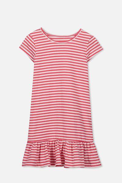 Elisha Short Sleeve Dress, TEABERRY/VANILLA STRIPE