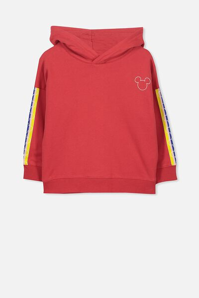 Lux Hoodie, MICKEY SIDE TAPE BONFIRE RED/DROP SHOULDER