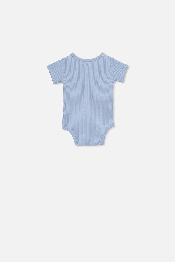 The Short Sleeve Button Bubbysuit, DUSTY BLUE