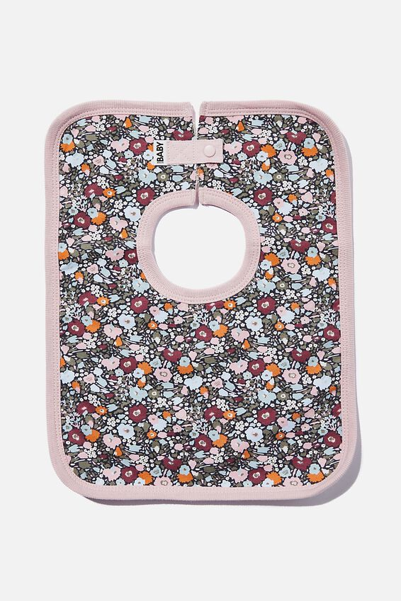 The Square Bib, RABBIT GREY/ABBY FLORAL