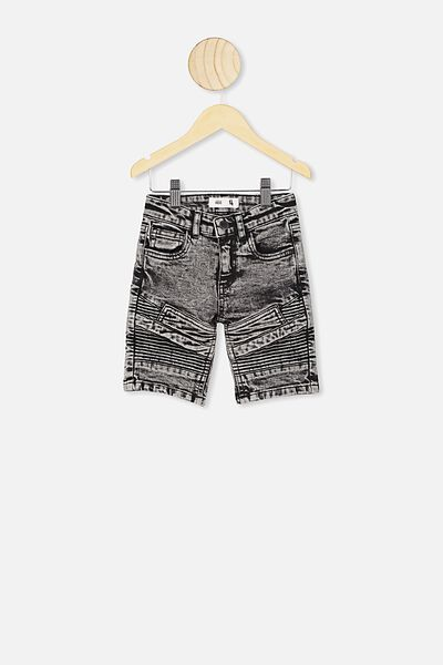 Biker Moto Short, AFTER DARK ACID WASH