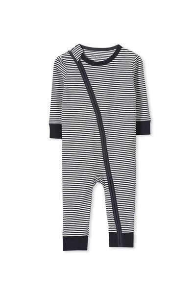 Mini Zip Footless Romper, INDIAN INK/VANILLA