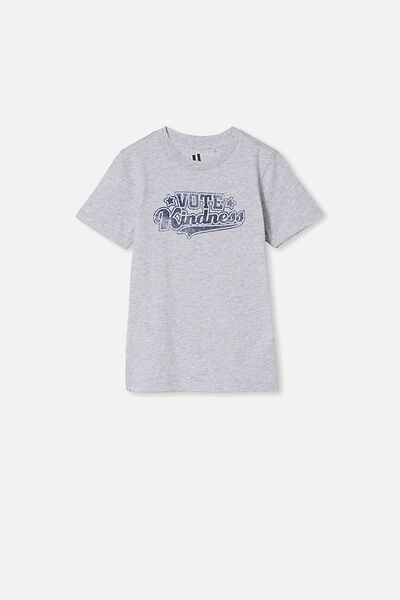 Max Skater Short Sleeve Tee, LT GREY MARLE/VOTE KINDNESS