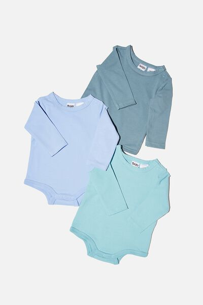 3 Pack Long Sleeve Bubbysuit, DEEP POOL/BLUE ICE/DUSK BLUE