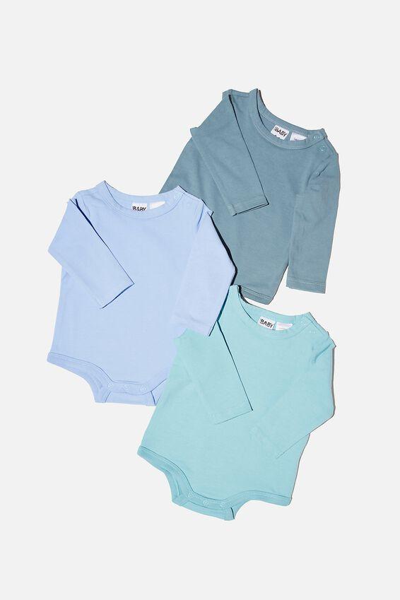 3 Pack Long Sleeve Bubbysuit, DEEP POOL/BLUE ICE/DUSK BLUE