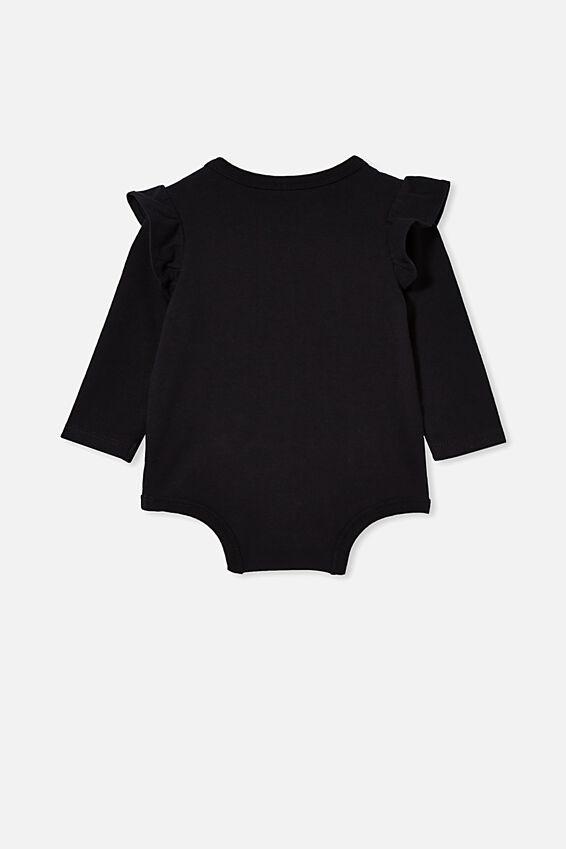 The Long Sleeve Ruffle Bubbysuit, BLACK