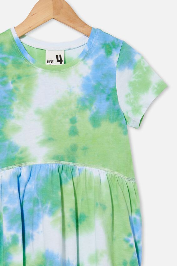 Freya Short Sleeve Dress, DUSK BLUE/SPEARMINT TIE DYE