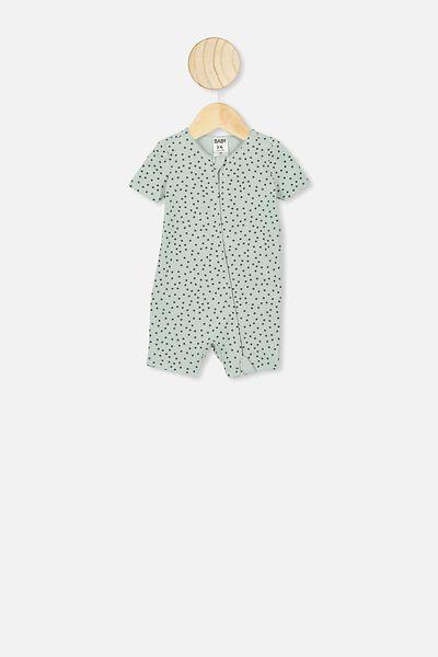The Snug Short Sleeve Romper, STONE GREEN/SCATTER SPOT