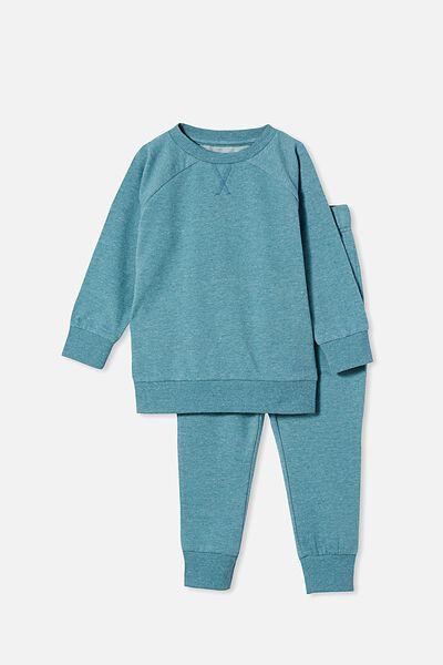Zayne Long Sleeve Pyjama Set, SPACE DYE/TEAL STORM
