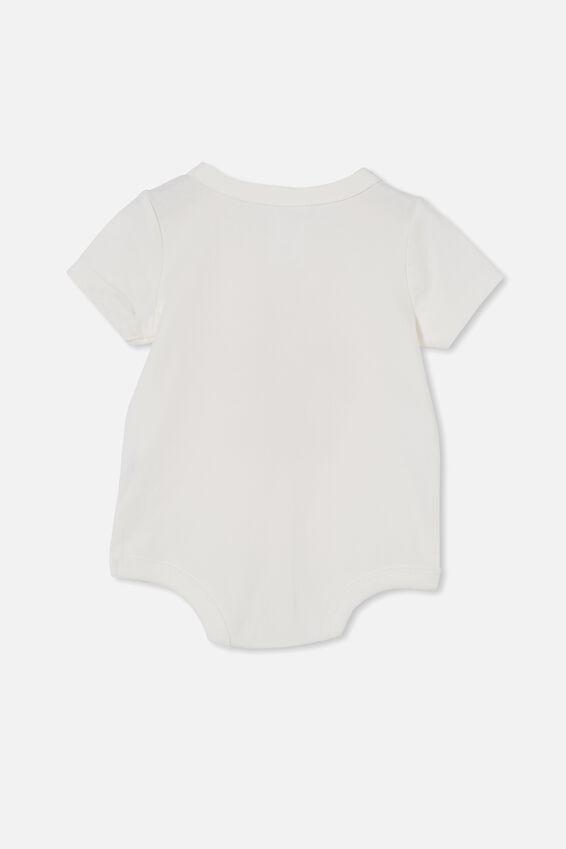 The Short Sleeve Bubbysuit, VANILLA/RED ORANGE EAT PLAY SLEEP