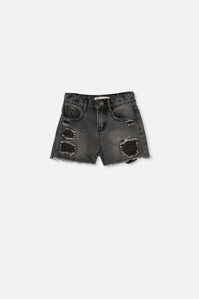 Sunny Denim Short, BLACK WASH/RIPS
