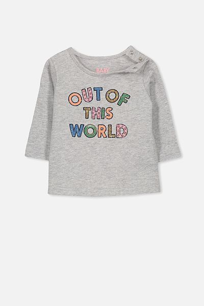 Ginger Ls Tee, LIGHT GREY MARLE/OUT OF THIS WORLD