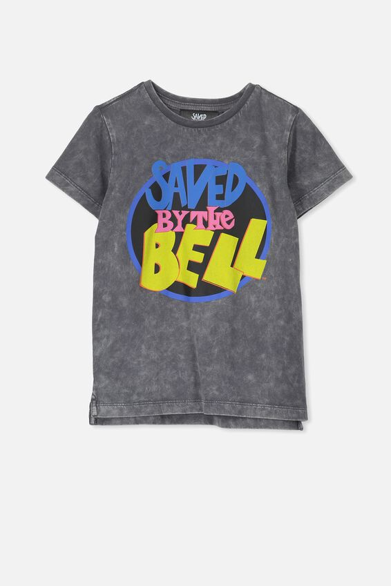 Short Sleeve License Tee, GRAPHITE WASH/SAVED BY THE BELL