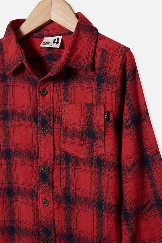 Rugged Long Sleeve Shirt, RED EARTH/NAVY PLAID CHECK