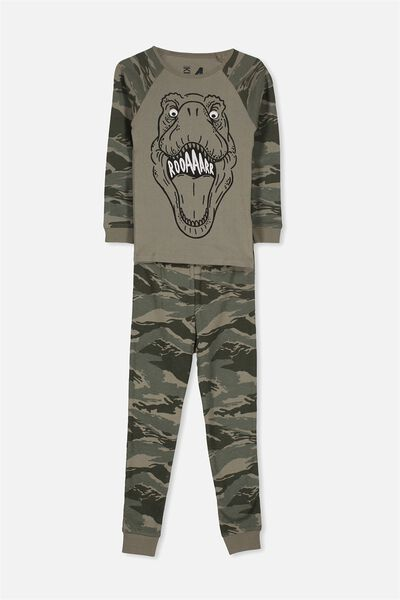 Ollie Boys Long Sleeve Raglan Pajama Set, CAMO T REX