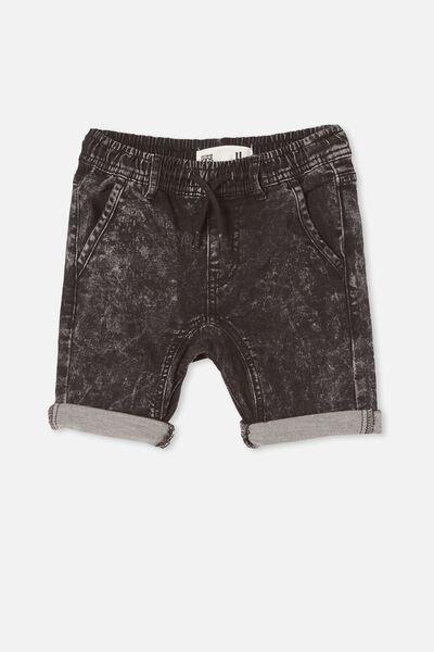 Jonny Jogger Short, BLACK ACID WASH