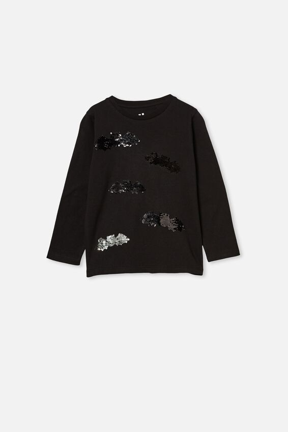 Stevie Long Sleeve Embellished Tee, BLACK BATS
