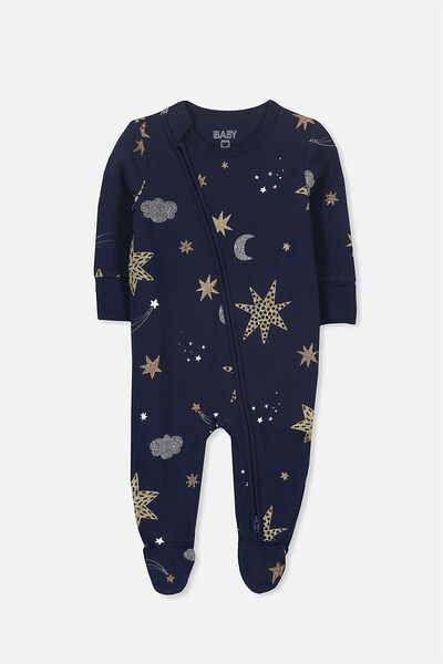 Mini Zip Through Romper, PEACOAT/STARRY SKY
