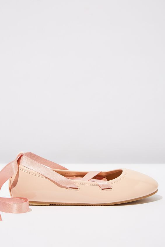 Ballet Flats, PINK ROSE PATENT TIE UP