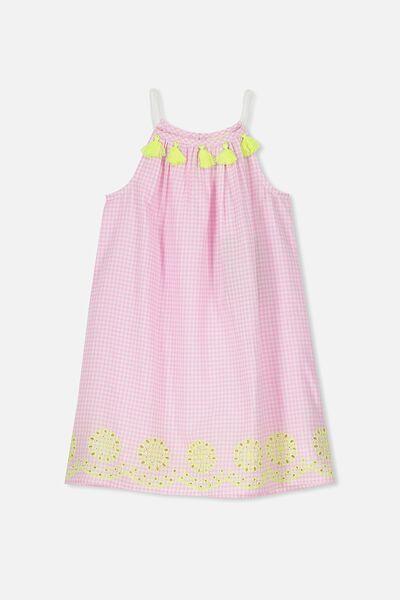 Fleur Dress, PINK GINGHAM