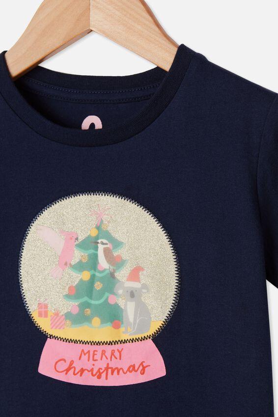 Stevie Short Sleeve Embellished Tee, INDIGO/ XMAS SNOW GLOBE